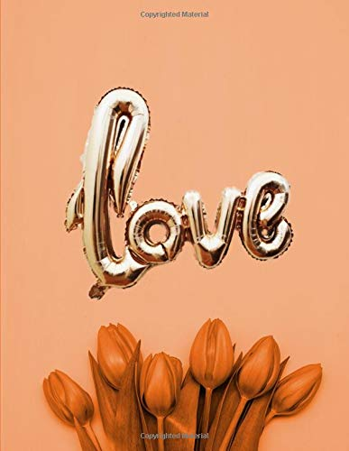 Love: Balloon and Tulips Flowers Notebook Collection - Orange. Blank Lined Journal Diary Planner. por BBD Gift Designs