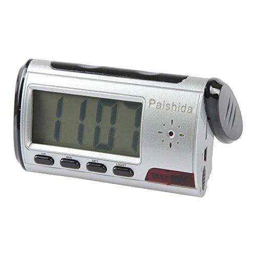 Paishida HD-Spy-Kamera/versteckte Überwachungskamera/Video-Recorder, 8 GB, 1280 x 720p, mit Fernbedienung, Bewegungserkennung, Wecker und LCD Display (Wecker Radio Digital Frame)