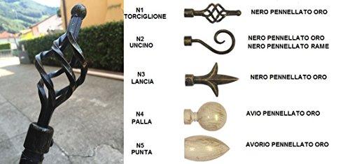 Bastone tenda 120-210 cm estensibile 3 modelli effetto battuto asta tende supporto - torciglione pennellato oro torciglione nero pennellato oro