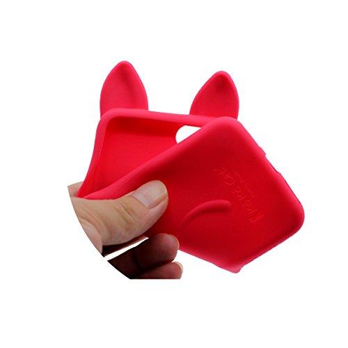 """Apple iPhone 6 Plus Coque, iPhone 6S Plus 5.5"""" Silicone Case étui de Protection, Élégant Mode 3D Mignon Chat Serie, Souple Élastique Fine Poids léger Couleur vive Belle Apparence Rouge"""