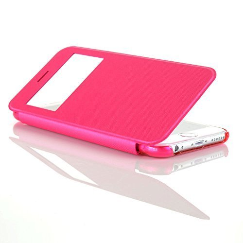 """Connect Zone ® Rose et Ultra Slim Smart View Flip Cover avec fenêtre avant pour iPhone 6 Plus (5.5 """") & de protection d'écran et chiffon de nettoyage"""