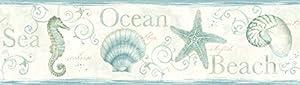 Chesapeake DLR53562B Island Bay Teal Seashells Wallpaper Border by Chesapeake from Beacon House