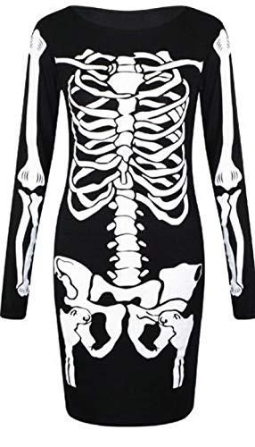 Unbranded Damen Halloween Skelett Knochen Kleid Body Anzug Overall Leggings Plus 36-48 (Größe 52-54, Skelettaufdruck - Skelett Kostüm Leggings