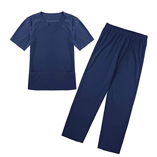 Set Krankenschwestern Scrubs Uniform (inlzdz Unisex Medical uniform V-Neck Kurzarm Schlupfjacke+Lange Hose Medizinische Uniformen Krankenschwester Kleidung Scrub Set für Damen Herren Marineblau Small)