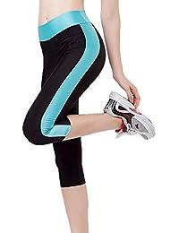 Huateng Leggings da donna Pantaloni sportivi a vita alta con tasche  laterali Pantaloni sportivi a 3 56b5917ceb0