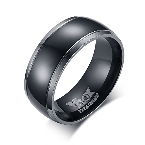 Vnox 8mm Pure Black Titanium Ring for Men with Titanium Engrave,Black Center with 2 Silver Edge Line, Highly Polished
