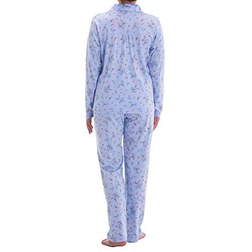 Lucky à manches longues pour femme avec imprimé floral stickerrei et pyjama Bleu - Bleu clair