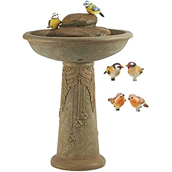 Primrose Butterfly Brook Solar Bird Bath Water Feature with Lights by Solaray