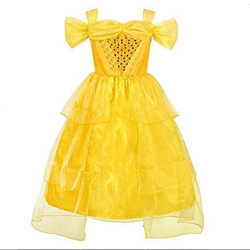 Belle Kostüm Kleider Deluxe Party Fancy Dress Up für Mädchen, gold (Deluxe Prinzessin Belle Kostüme)