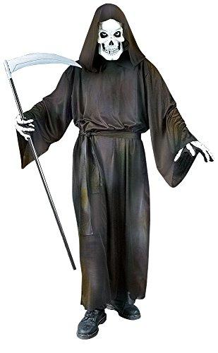 Grave Reaper Halloween Kostüm Gevatter Tod Umhang mit Totenkopf Maske - schwarz - M/L