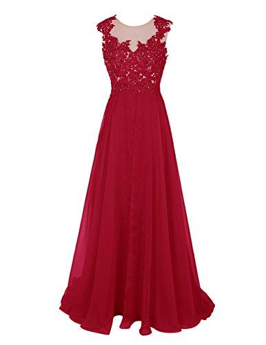 Bbonlinedress Robe de cérémonie Robe de soirée en mousseline dentelle avec traîne Rouge Foncé