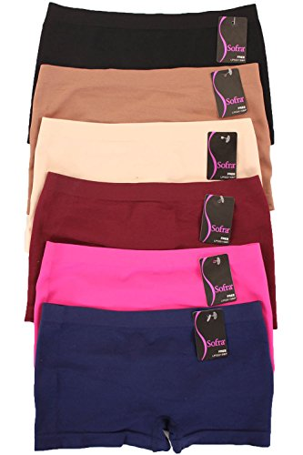 Sofra 6 Pack of Women's Seamless Stretch Boy Shorts Panties