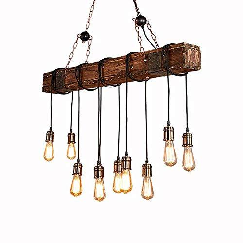 Lampada a sospensione in legno regolabile in altezza nero vintage Lampada a sospensione Industrial Retro in metallo E27 * 10 a bulbo Soggiorno tavolo da pranzo Cucina 118cm * 116cm