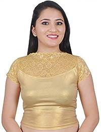 a1e4c9bfa45f4e BigMart99 Cap Sleeve Round Neck Cotton Lycra Stretchable Readymade saree  Blouse For Women