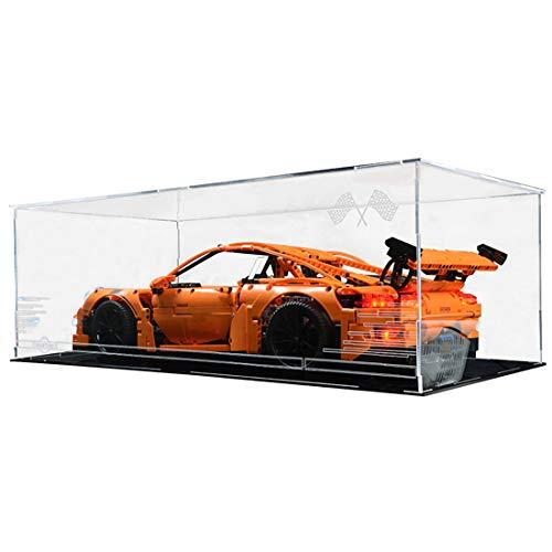TONGJI Acryl Vitrine Mit Beleuchtungsset Kompatibel Mit Lego 42056 Porsche 911 GT3 RS , Schaukasten Staubdicht Display Box (Beinhaltet Nicht das Modell )