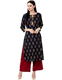 Chokhi Bandhni Women's Rayon Printed Kurta With Palazzo Set (Blue)
