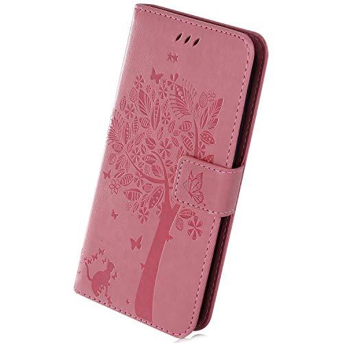 Herbests Kompatibel mit Samsung Galaxy S10e Handyhülle Handy Schutzhülle Luxus Schmetterling Blumen Muster Brieftasche Leder Tasche Flip Wallet Case Bookstyle Klappbar Handy Tasche, Rosa
