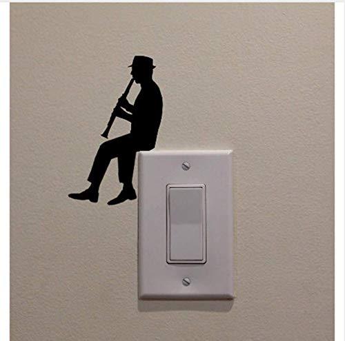 Dencey Bzqt 5 Stücke Mann Spielen Klarinette Vinyl Dekoration Aufkleber Wand Home Schlafzimmer Schalter Aufkleber