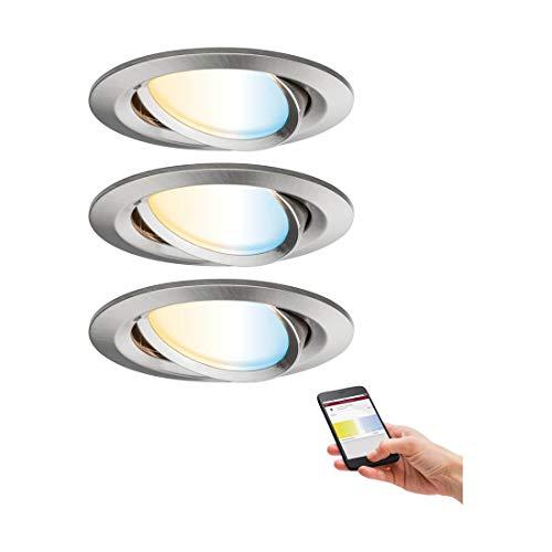 Paulmann 92962 SmartHome Zigbee Einbauleuchten-Set LED Coin Nova Plus 3x6,5W Tunable White Eisen gebürstet -