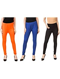 PRASITA Fashion Women's Cotton Lycra Churidar Leggings Pack Of 3(ORANGE/BLUE/BLACK)