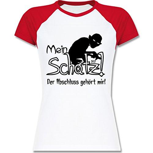 Abi & Abschluss - Abschluss 2017 Mein Schatz - zweifarbiges Baseballshirt / Raglan T-Shirt für Damen Weiß/Rot