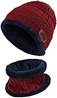ZZLAY Kids Winter Thick Beanie Hat Bufanda Conjunto Slouchy Warm Snow Knit Skull Cap