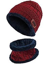 ZZLAY Enfants hiver épais bonnet écharpe ensemble Slouchy chaud neige Knit Skull Cap