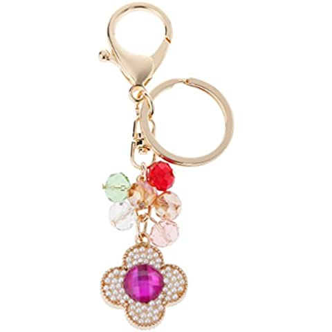 Perle Artificiali 4 Foglie Di Trifoglio Ciondolo In Lega Portachiavi # (Perla Del Trifoglio)
