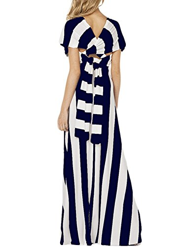 Azbro Women's Multi-tie Striped Sleeveless Maxi Dress Blue&white