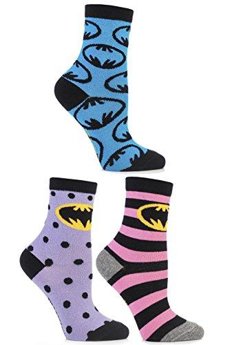 (SockShop Frauen 3 Paar Batman-Streifen-Spots und in der ganzen Motivsocken aus Baumwolle 6,5-10,5 Multi)