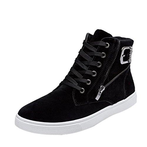 Herren Schuhe Sneakers, FEITONG High-top Schuhe Warme Stiefel Canvas Turnschuhe, Größe 39 ~ 44, Schwarz Blau Gelb (43, Schwarz)