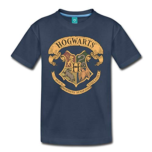 Spreadshirt Harry Potter Hogwarts Wappen Teenager Premium T-Shirt, 158/164 (12 Jahre), Navy
