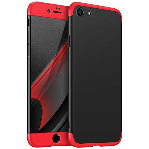 iPhone 8 Funda,2ndSpring Funda iPhone 8 360 Grados Integral Para Ambas Caras + Cristal Templado, Luxury 3 in 1 PC Hard Skin Carcasa Case Cover para iPhone 8 Rojo Negro ( Nota: no apto para iPhone 7 )