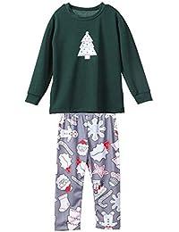 Hffan Damen Herren Baby Weihnachtspyjamas Junge Mädchen Langarm Weihnachtsbaum Schneemann Drucken Weihnachten Pyjamas Eltern-Kind-Anzug Eltern-Kind-Schlafanzug