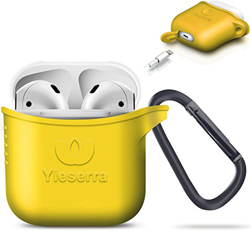 AirPods Hülle Airpods Case Silikonhülle,Yieserra Silikon Hülle Case Cover Staubstecker Soft Skin Hülle für Apple Airpods, Apple Airpods Zubehör[ Box Anti-Lost](Zitronengelb)