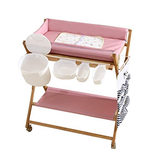 ZQ Wickelaufsatz Holz Baby Wickeltisch mit wasserdichter Auflage und Lagerung, Kinderzimmer Infant Dresser Storage Bath Unit Station (Farbe : Pink)