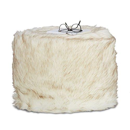 Möbel Akzent Sitzgelegenheiten (Relaxdays Hocker Kunstfell, Sitzsack Fellimitat, Sitzhocker Kunstpelz, Pouf Dekofell, HBT: 35 x 50 x 50 cm, creme-weiß)