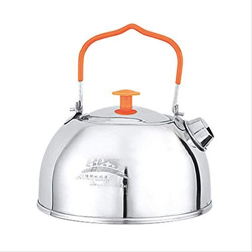 RTGFS Camping Teekanne 1.1L Outdoor Wasserkocher Lebensmittelqualität Edelstahl tragbare Kaffeekanne weiß