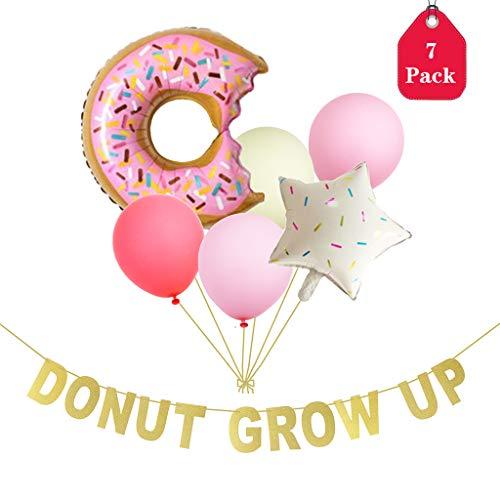 Amycute Donuts Eiscreme Partyfotos Luftballon Deko Set zum Geburtstag Party Banner Donut Thema Party Dekorationen für Baby-Geburtstags-Party-Zeichen. (Baby Geburtstag Party Thema)