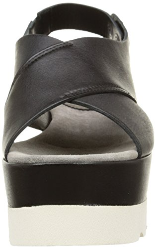 NOW 2806, Sandales femme Noir (Santiago Nero/Velour Stone)