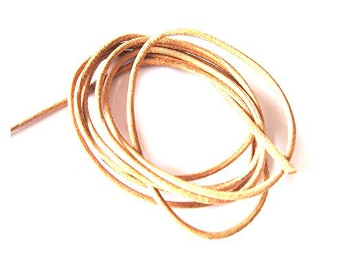 rundes Lederband natur ca 1,4 mm / 1 Meter Ziegenleder ohne AZO-Farben ohne Chrom-Gerbung sehr weich und geschmeidig A++ Qualitt (Natur Chrom)