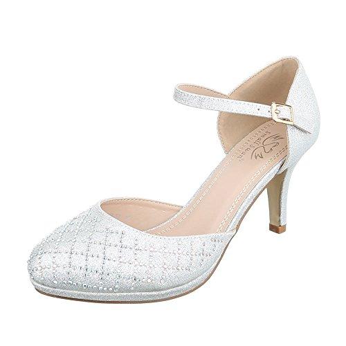 Ital-Design High Heel Damen-Schuhe Plateau Kleiner Trichter High Heels Schnalle Pumps Silber, Gr 38, 5015-37-