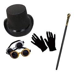 Idea Regalo - Unisex Steampunk Costume Set (Cilindro, Occhialini, Bastone & Corti Neri Guanti)
