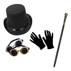Unisex Steampunk Modisches Kostüm-Set (Zylinder, Schutzbrille, Gehstock & Kurz Schwarz Handschuhe)