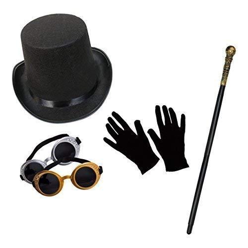 isches Kostüm-Set (Zylinder, Schutzbrille, Gehstock & Kurz Schwarz Handschuhe) ()
