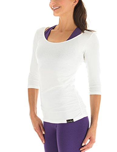 Winshape Damen Fitness Yoga Pilates 3/4-Arm Shirt WS4, Weiß, Gr. M