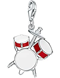 Rafaela Donata Charm Collection Damen-Charm Schlagzeug 925 Sterling Silber Emaille rot / weiß  60602083