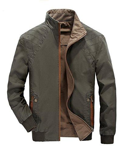WS668 Herren Dünn Stil Casual Stehkragen Double Sided Jacke Baumwolle Outdoor Mäntel Classic Mens Leichte Coats Armygrün