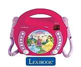 Lexibook Disney Princess Rapunzel CD player for kids with 2 toy microphones, headphones jack, with batteries, pink, RCDK100DP