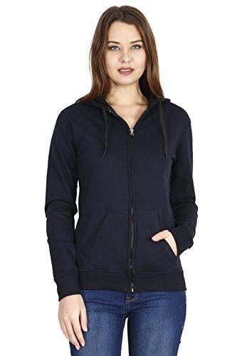 FLEXIMAA Women's Cotton Plain Full Sleeve Hoodies (Navy Blue, Large)